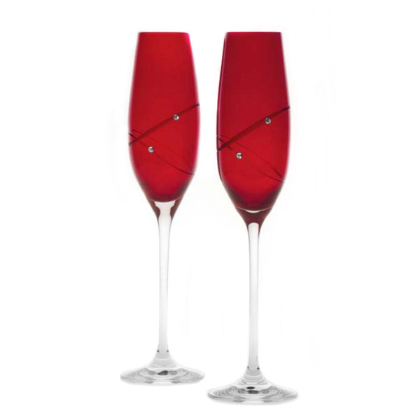Colored Red Swarovski Champagne Flutes Pair