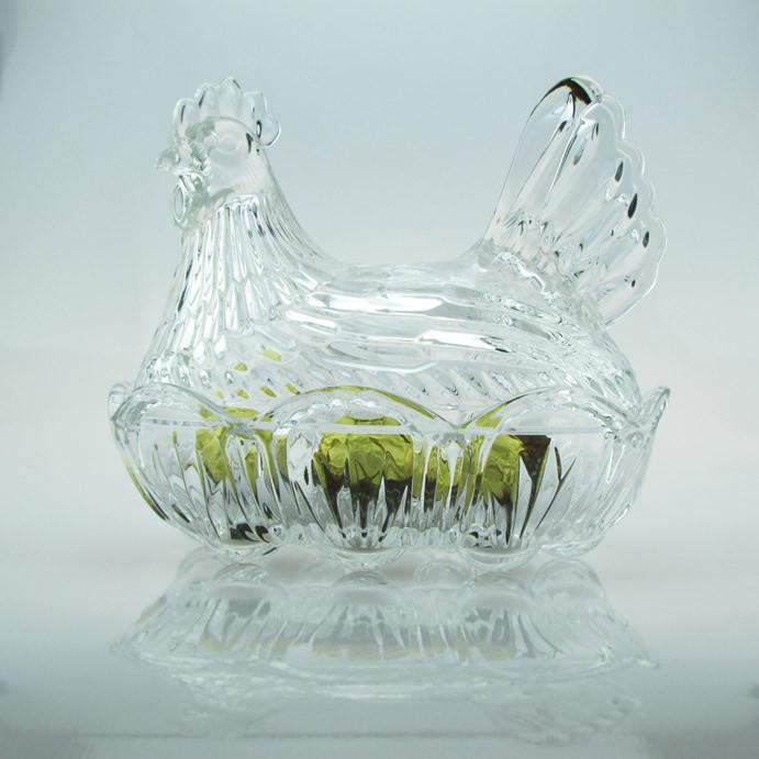Candy Boxes - Crystal Hen Decorative Serving Bowl