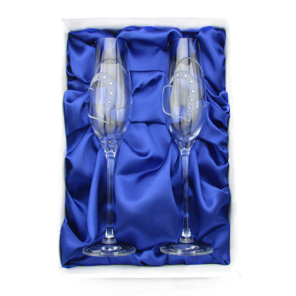 Adeline Glass Champagne Flutes, Pair - The Crystal Wonderland 1