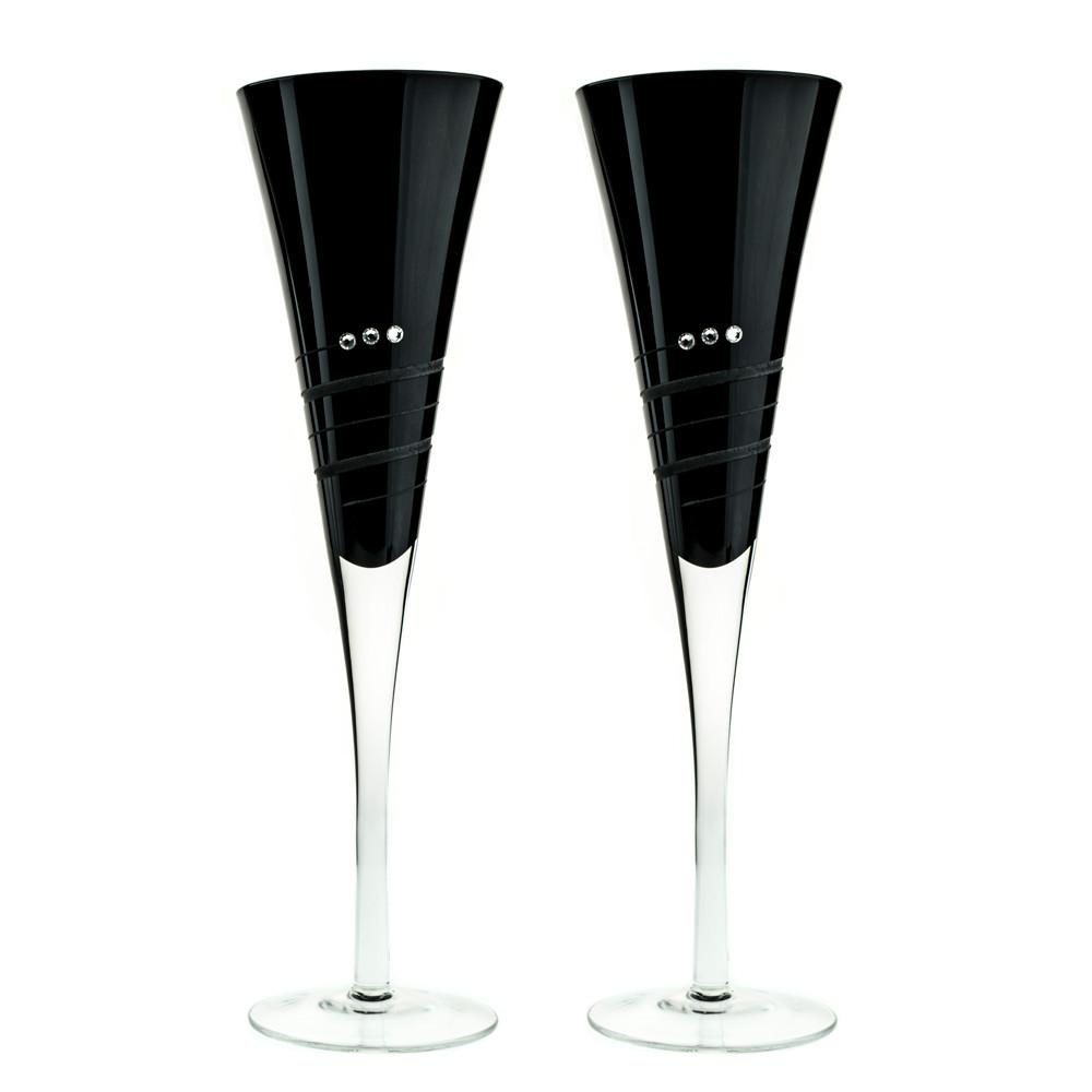 Black Colored Champagne Toasting Flutes With Swarovski Crystals Pair