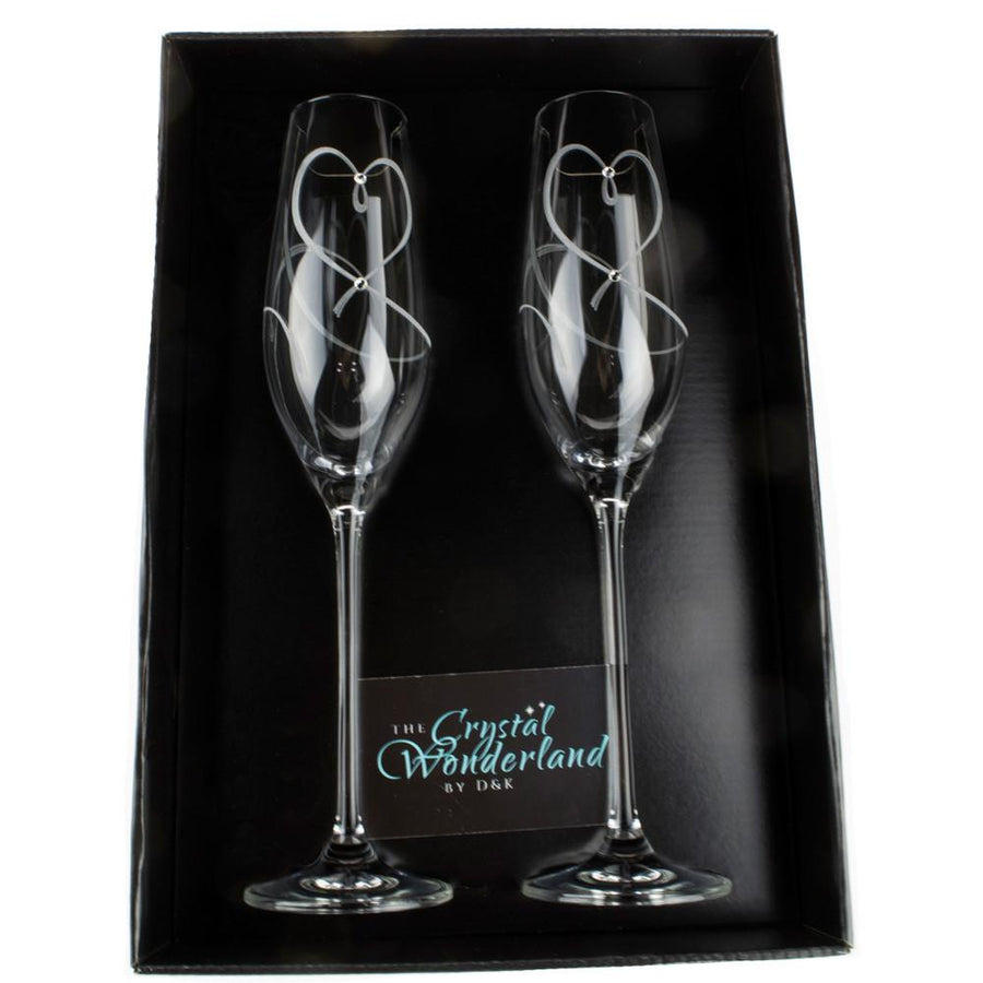 Champagne Glasses - Champagne Glasses Tangled Hearts With Swarovski Crystals, Pair