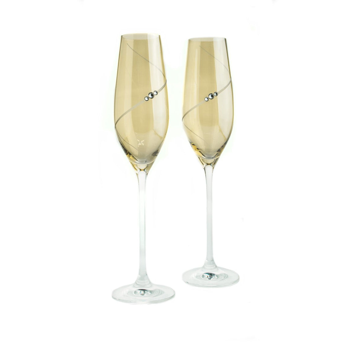 Champagne Glasses - Colored Yellow Swarovski Champagne Glasses, Pair