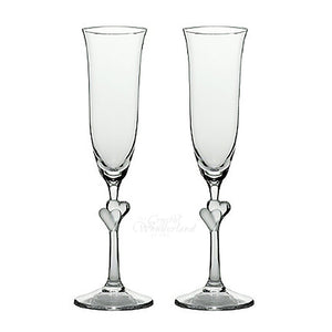 Endless Love Champagne Flutes with Two White Hearts, Pair - The Crystal Wonderland - 1
