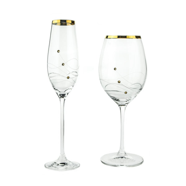 Champagne Glasses - Gold Rimmed Timeless Collection Swarovski Glasses, Pair