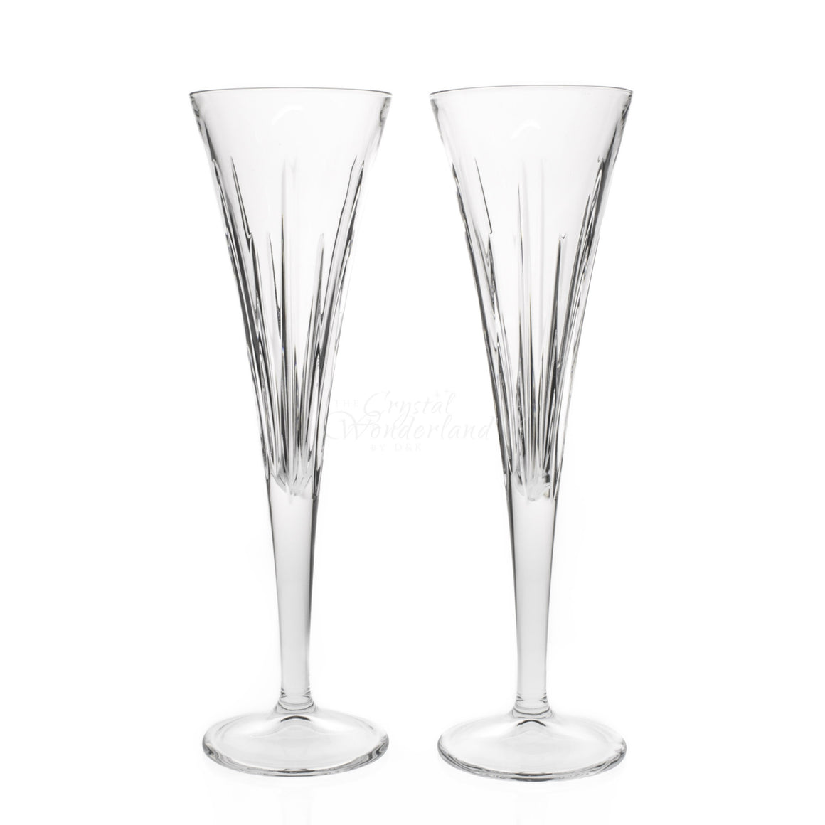 Line Crystal Toasting Flutes, Pair - The Crystal Wonderland
