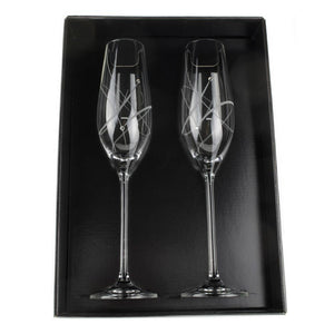 Champagne Glasses - Melinda Glass Champagne Flutes With Swarovski Crystals