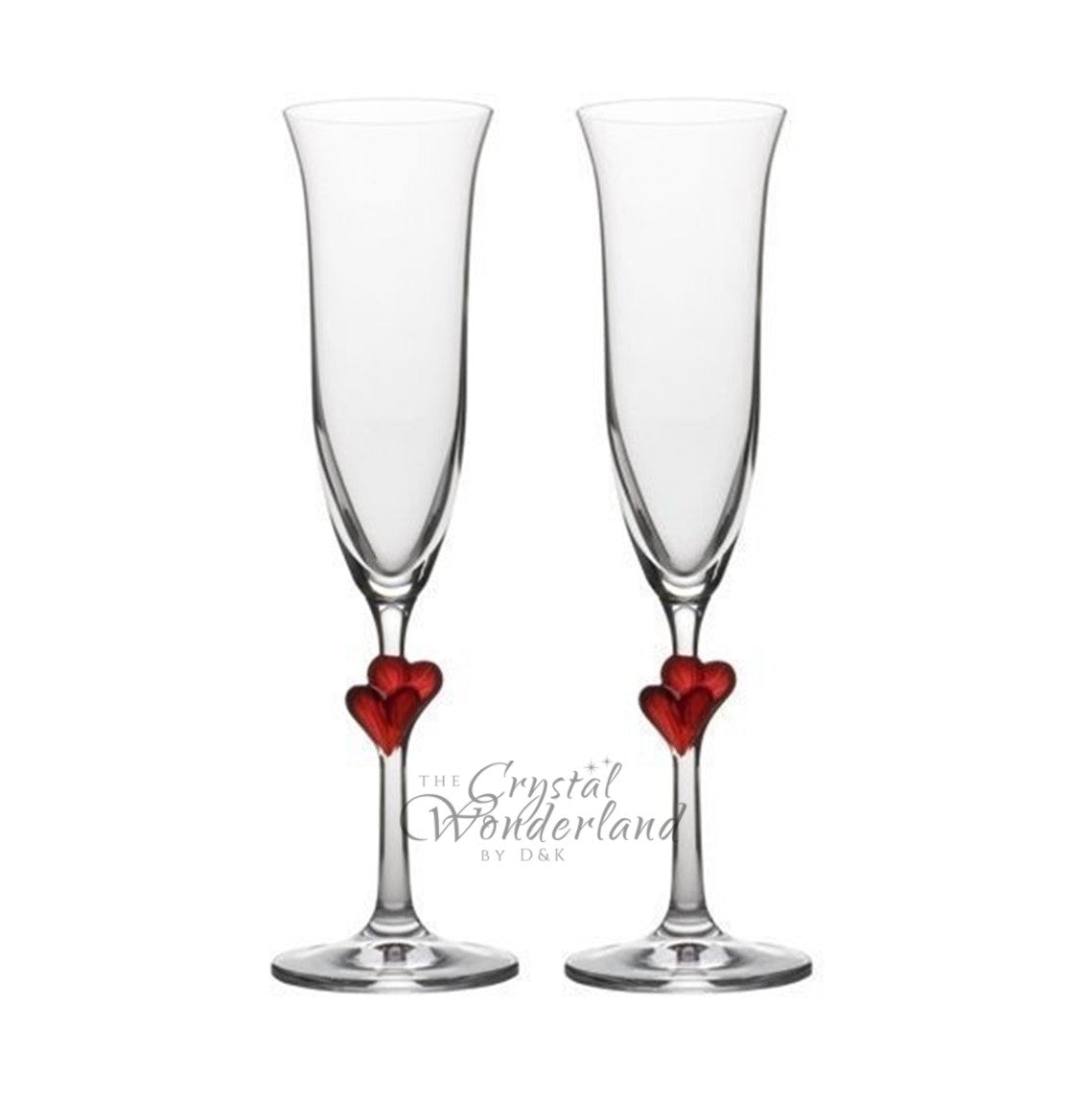 Passionate Love Champagne Flutes with Red Hearts, Pair - The Crystal Wonderland - 1