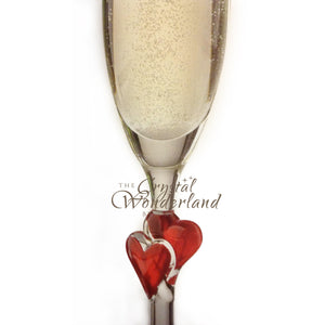 Passionate Love Champagne Flutes with Red Hearts, Pair - The Crystal Wonderland - 3