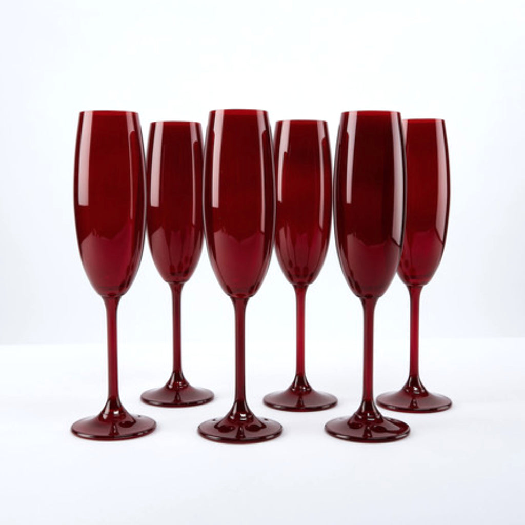 Champagne Glasses - Red Colored Bohemian Glass Champagne Flutes