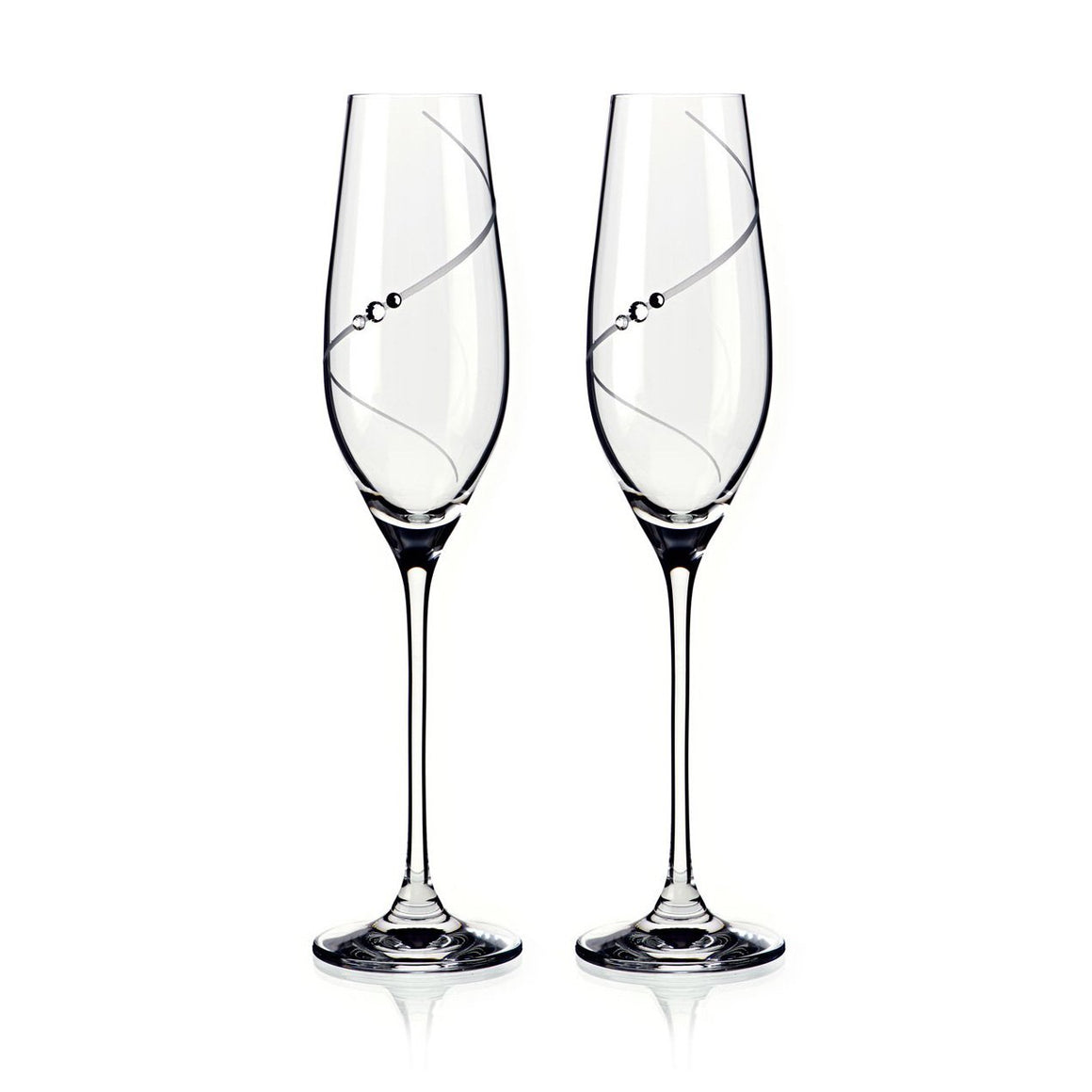 Champagne Glasses - Swarovski Crystals Line Champagne Glasses, Pair