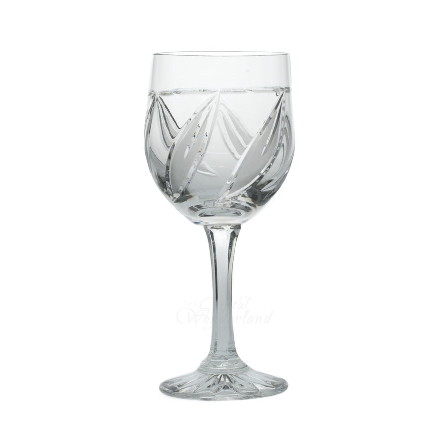 Crystal Leaves Wine Goblets, Set of 6 - The Crystal Wonderland