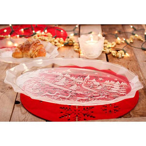 "Plates - Glass Oval Tray Platter ""Silent Night"""