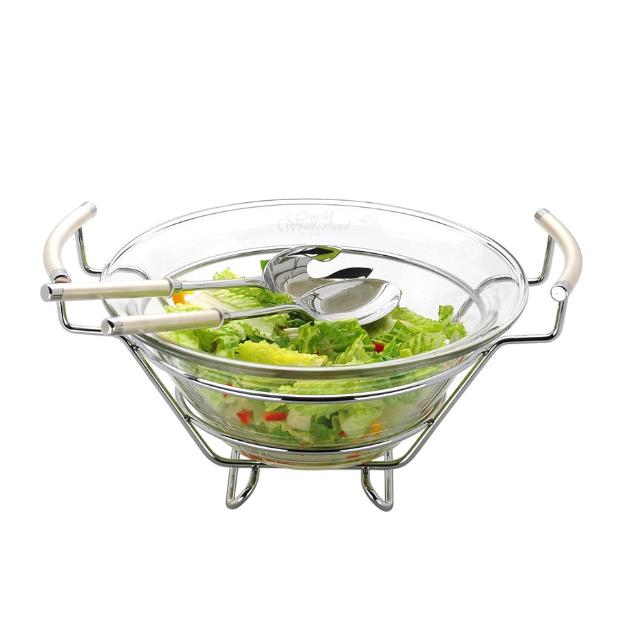Pearl Salad Bowl with Servers - The Crystal Wonderland