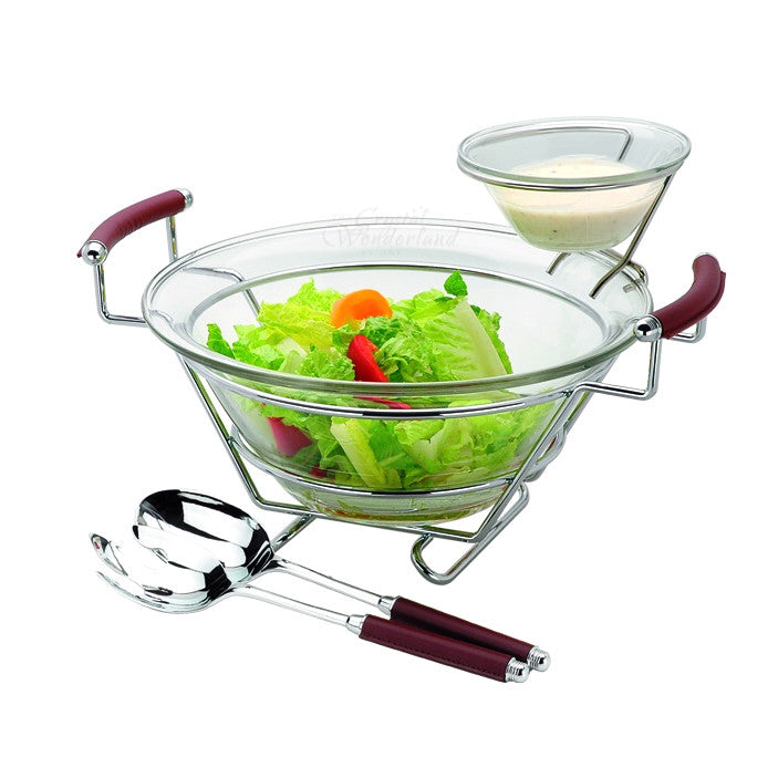 Salad Bowl with Small Sauce Dip Bowl and Servers - The Crystal Wonderland