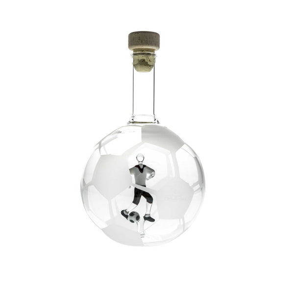 Handcrafted Glass Bottle with a Soccer Player - The Crystal Wonderland