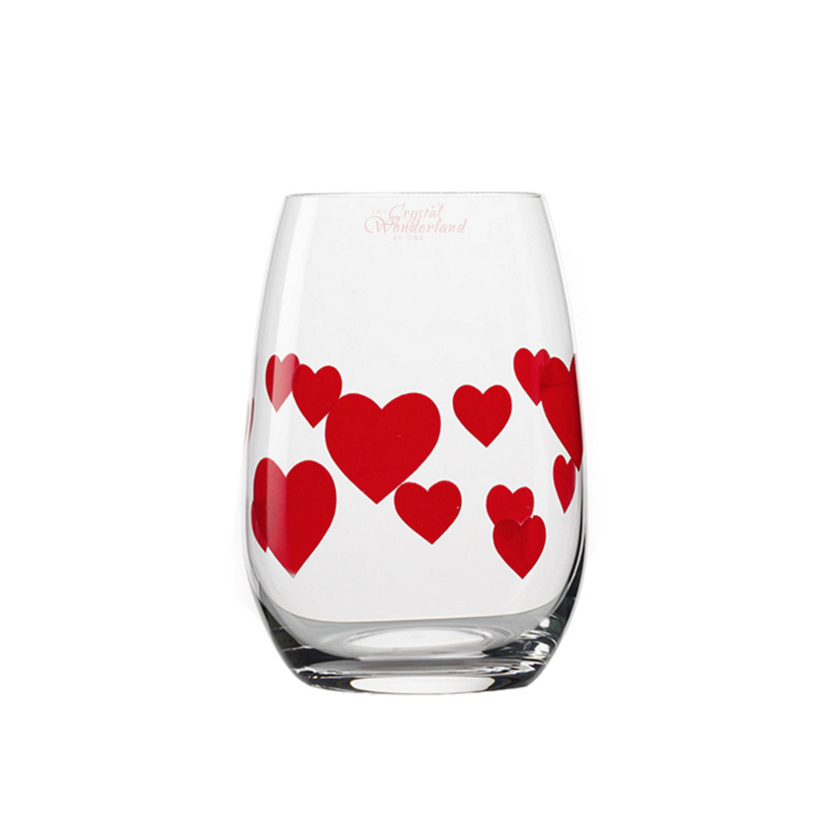 Glass Stemless Glasses Red Hearts, Set of 6 - The Crystal Wonderland - 1