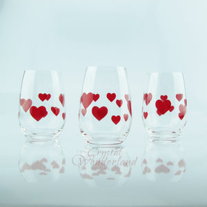 Glass Stemless Glasses Red Hearts, Set of 6 - The Crystal Wonderland - 2