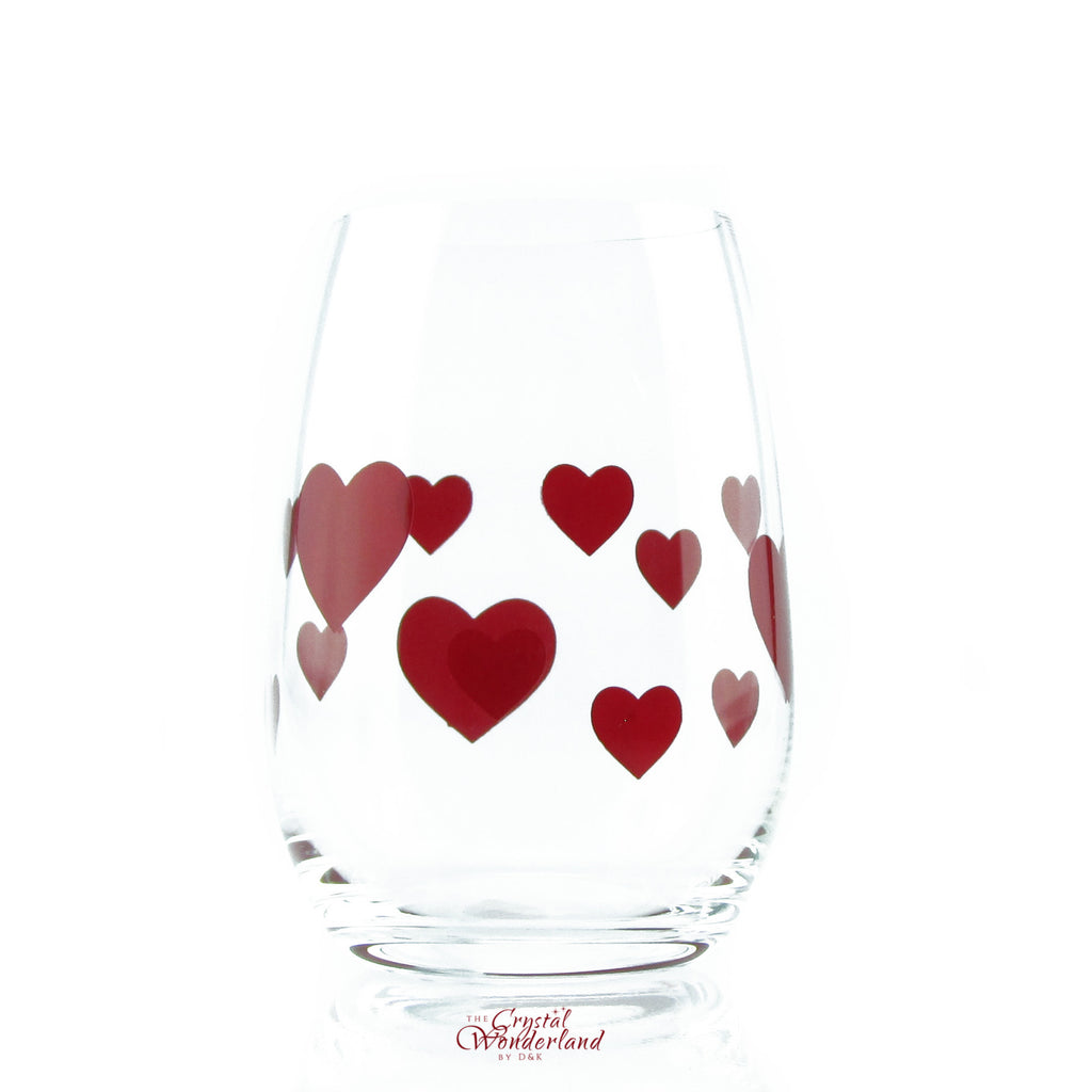 Glass Stemless Glasses Red Hearts, Set of 6 - The Crystal Wonderland - 3