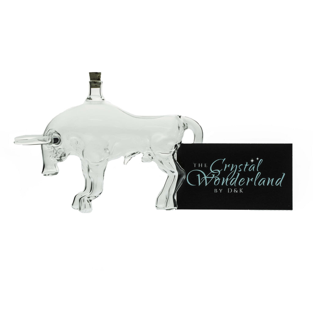 Unique Gifts - Decorative Handcrafted Glass Bottle Bull