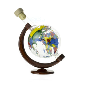 Handcrafted Glass Globe Bottle On a Wooden Stand - The Crystal Wonderland