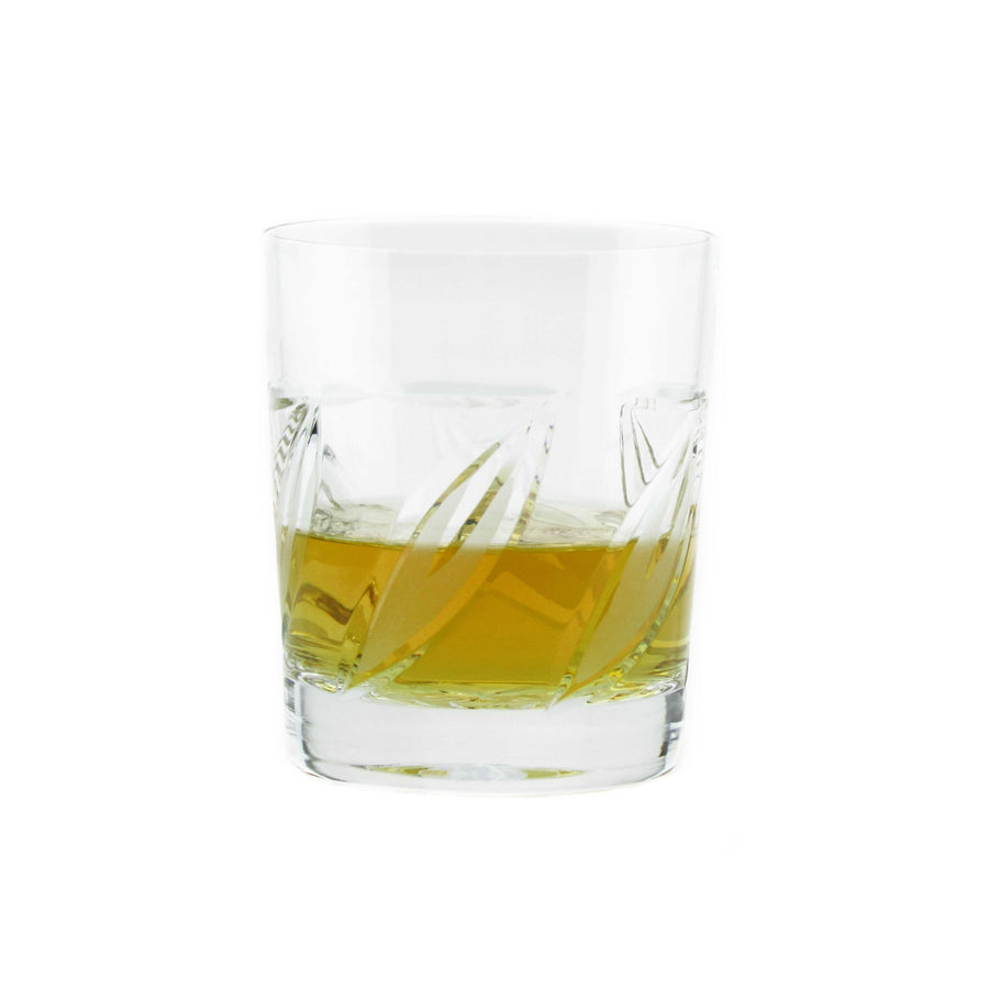 Crystal Leaves Whiskey Glasses, set of 6 - The Crystal Wonderland