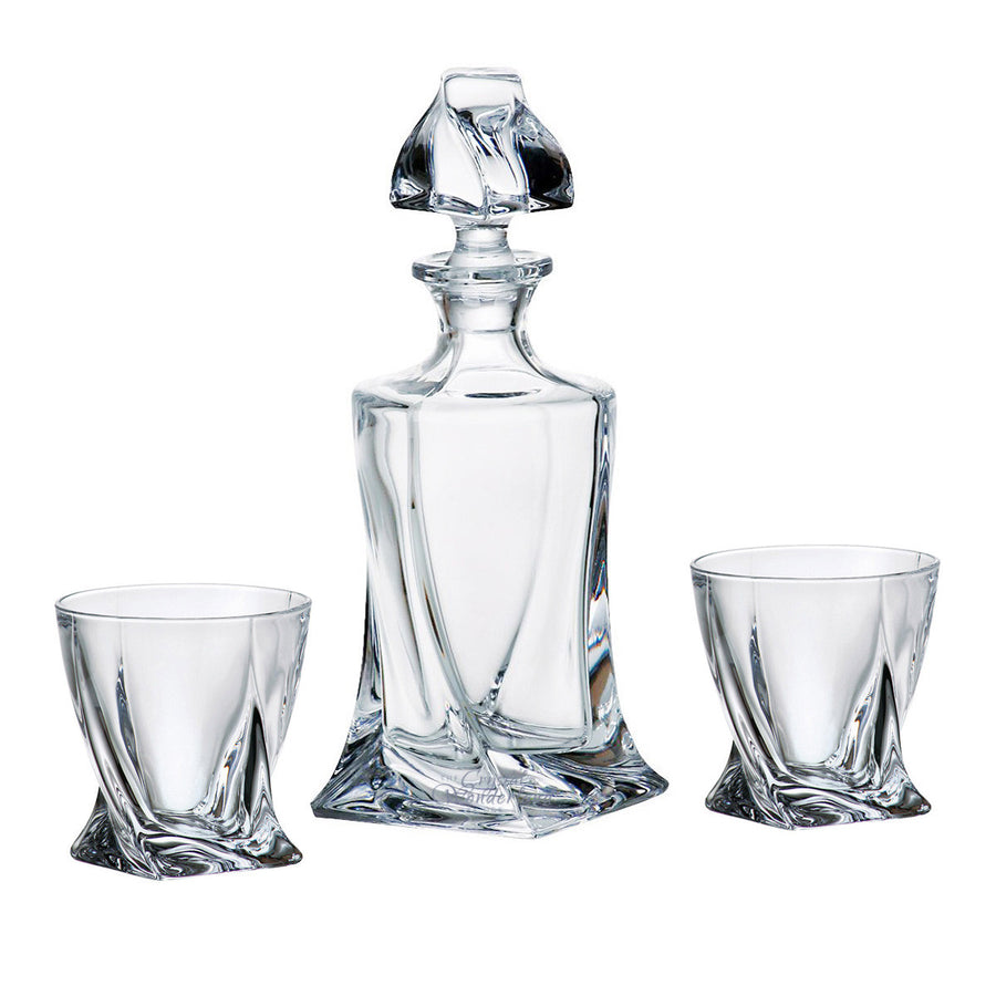 Calypso Glass Whiskey Decanter & 6 Tumblers - The Crystal Wonderland