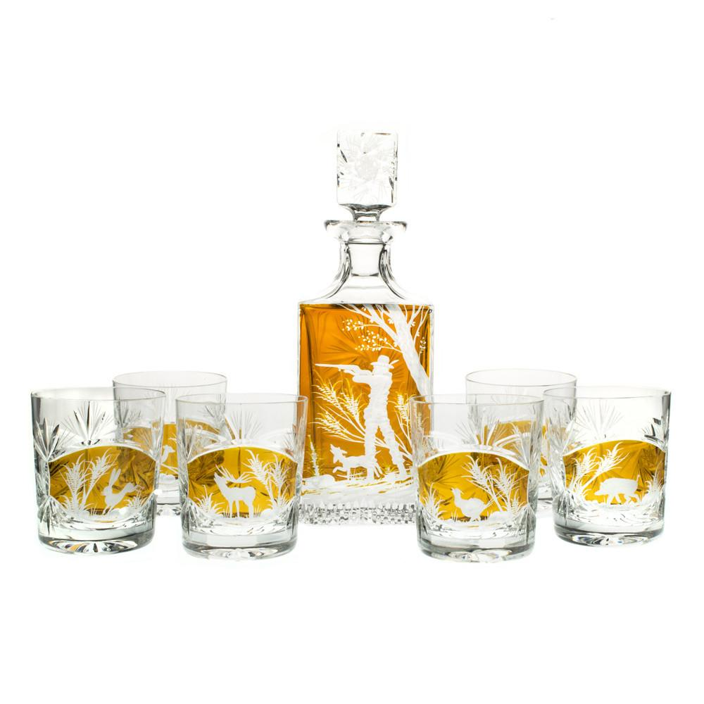 Whiskey Sets - Crystal Huntsman Whiskey Set, Decanter And Six Whiskey Tumblers