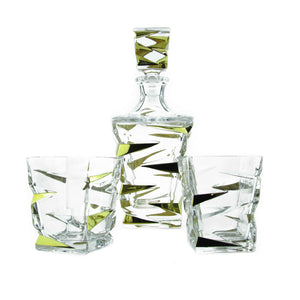 Golden Age Whiskey Decanter with 6 glasses - The Crystal Wonderland