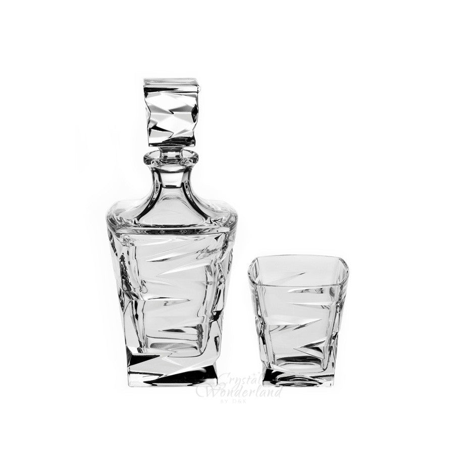 New Age Crystal Whiskey Decanter & 6 Tumblers - The Crystal Wonderland