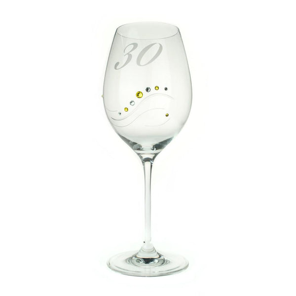 Wine Glasses - 30 Anniversary Engraved Swarovski Crystals Wine Glass Samantha, Various Colors