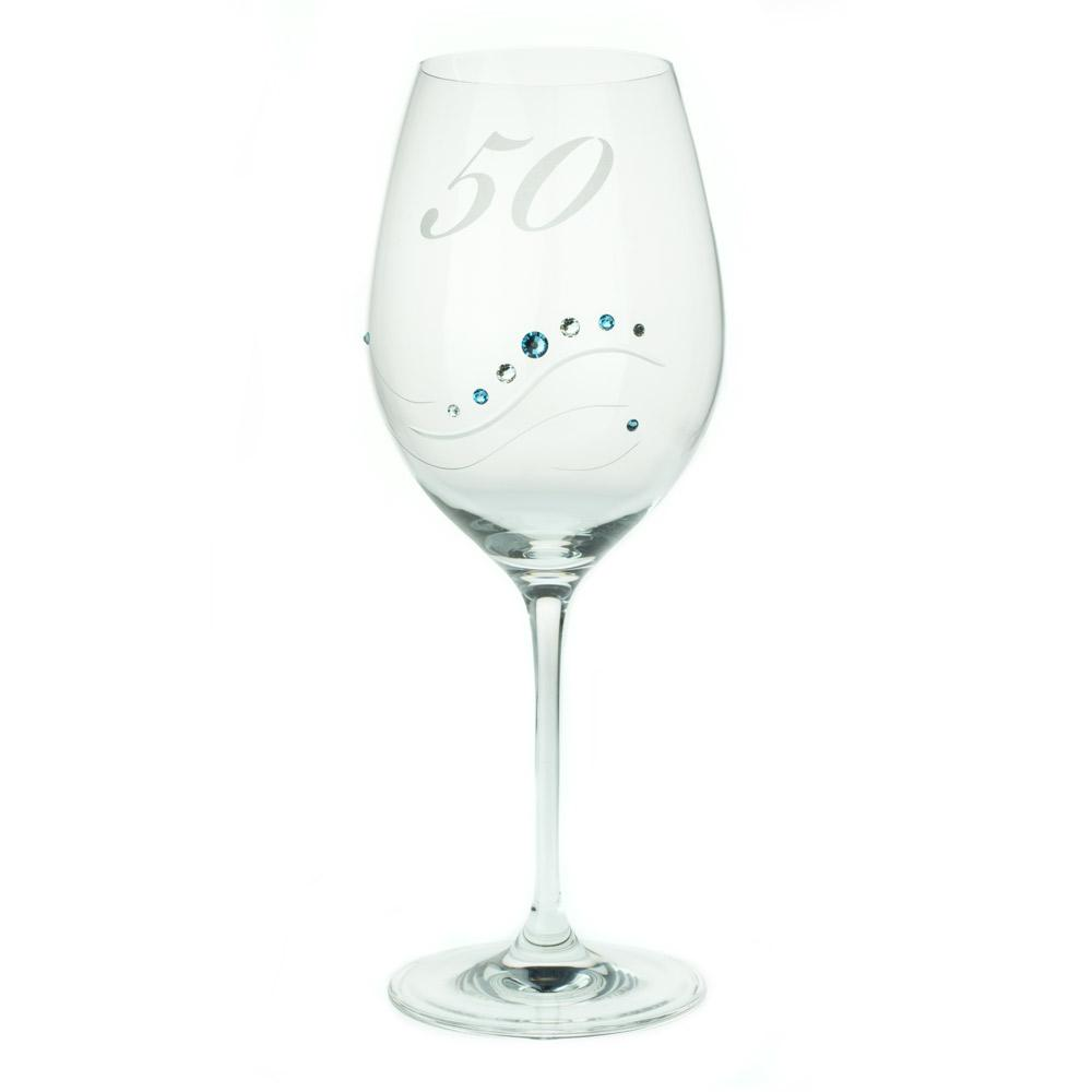 Wine Glasses - 50 Anniversary Engraved Swarovski Crystals Wine Glass Samantha, Various Colors