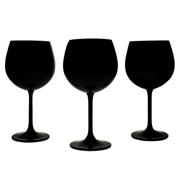 Wine Glasses - Colored Black Bohemian Wine Glasses, Set Of 6