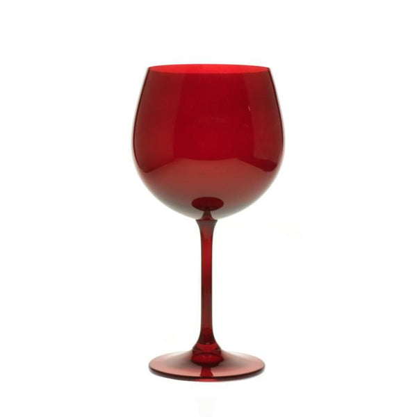 Wine Glasses - Colored Red Bohemian Wine Glasses, Set Of 6