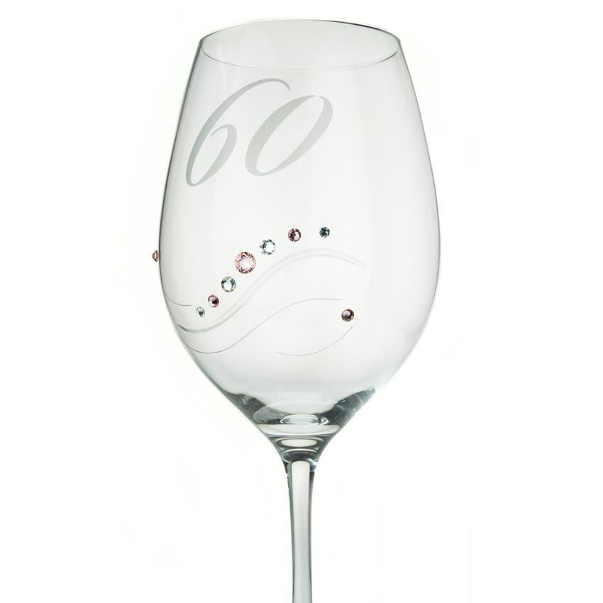 Wine Glasses - Samantha Swarovski Crystals Wine Glass 60 Anniversary, Various Colors