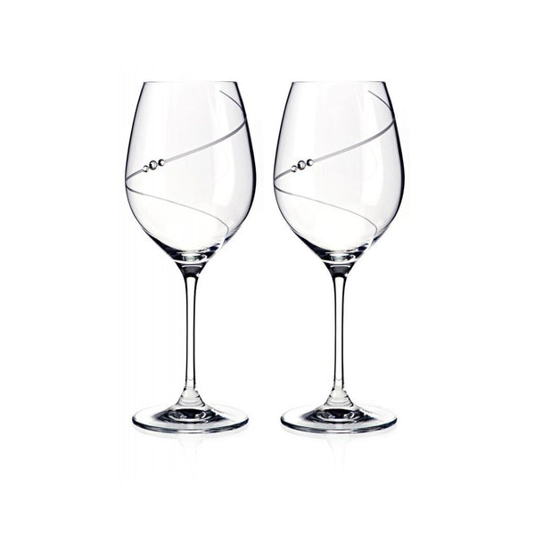 Wine Glasses - Swarovski Crystals Line Wine Glasses, Pair