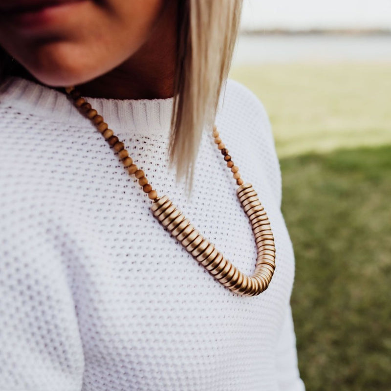 Stay Golden | Wood Statement Necklace