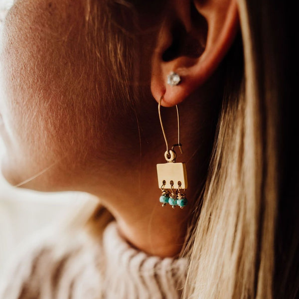 Treasure Finder | Gold + Turquoise Earrings