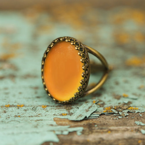 Vintage Brass Oval Mood Ring