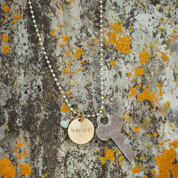 vintage key to happiness necklace