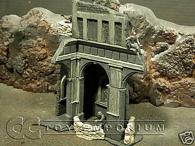 """RETIRED"" Pro Built - Hand Painted & Weathered 1:35 WWII Deluxe 2 Story Monte Cassino Ruin"