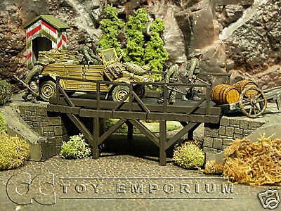"""RETIRED"" Pro Built - Hand Painted & Weathered Verlinden 1:35 WWII Custom Built Deluxe Wooden Bridge Ruin"