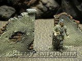 """RETIRED & BRAND NEW"" Build-a-Rama 1:32 WWII Deluxe ""Gate Wall Ruin"" Set (2 Piece Set)"