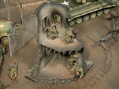 """RETIRED & BRAND NEW""  Build-a-Rama 1:32 Hand Painted WWII Deluxe 2 Story City Building Ruin"