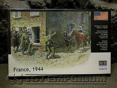 """BRAND NEW"" Master Box Models 1:35 Scale Deluxe WWII ""US Soldiers - France, 1944"" Model Kit"