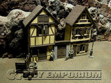 """BRAND NEW""Custom Built & Painted 1:35 Deluxe WWII Old German City Diorama 2 Building Set"