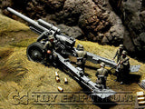"""BRAND NEW"" Custom Built - Hand Painted & Weathered 1:35 WWII Deluxe German sFH 18 Howitzer & Limber w/ 6 Man Gun Crew"