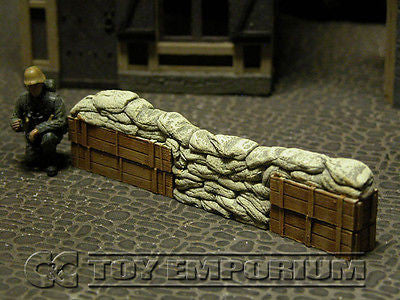 """RETIRED & BRAND NEW"" Build-a-Rama 1:32 Hand Painted WWII Deluxe Sandbag Barricade Wall Section #2"