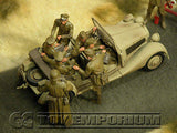 """BRAND NEW"" Custom Built - Hand Painted & Weathered 1:35 WWII Deluxe German ""Rommel's Staff Car"" Set With 8 Figures"