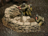 """RETIRED & BRAND NEW"" Build-a-Rama 1:32 Hand Painted WWII Mortar Pit Set (2 Piece Set)"