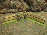 """RETIRED BRAND NEW"" Build-a-Rama 1:32 Hand Painted WWII Wooden ""Straight"" Fence Set (2 Piece Set)"
